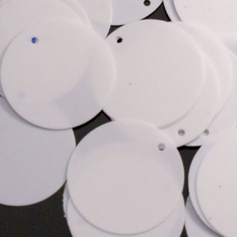 15mm Flat Round Glossy White Sequins x 100
